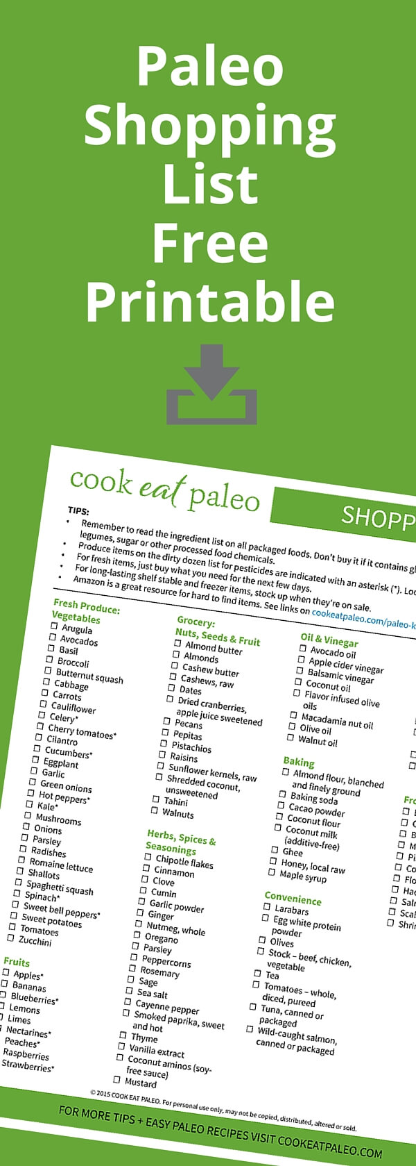 Stocking your paleo pantry? Here's a paleo shopping list for beginners including paleo must haves and tips on what to avoid.