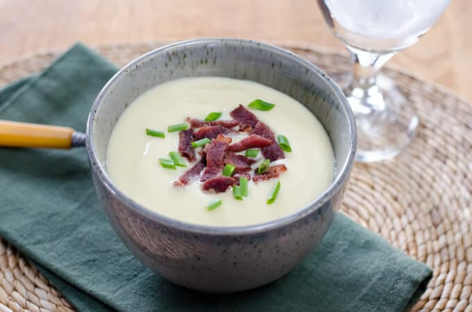 Easy Cauliflower Celeriac Soup with Bacon - the celery root makes it so creamy you won't believe it's paleo!