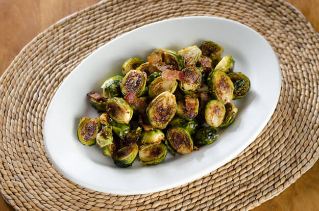 10 Easy Paleo Recipes for Fall - Bacon Roasted Brussels Sprouts with Honey Mustard