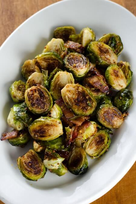 Bacon Roasted Brussels Sprouts with Honey Mustard on cookeatpaleo.com/bacon-roasted-brussels-sprouts-with-honey-mustard