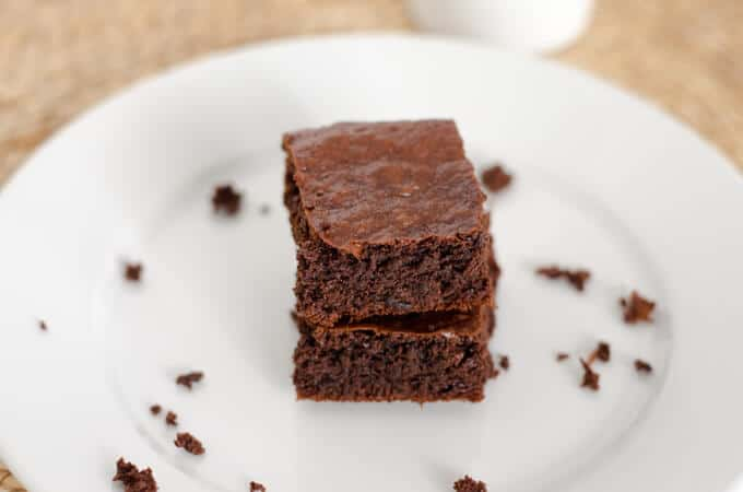 A quick and easy paleo brownie recipe to satisfy your chocolate craving. Make in a food processor — no bowls needed — and they are in the oven in 5 minutes. | cookeatpaleo.com