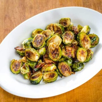 Honey mustard Brussels sprouts roasted with bacon