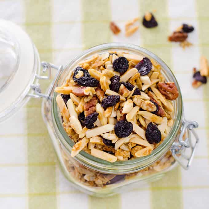 This quick and easy Cherry Almond Paleo Granola recipe is gluten-free, grain-free, refined sugar-free, and hard to resist. | Cook Eat Paleo