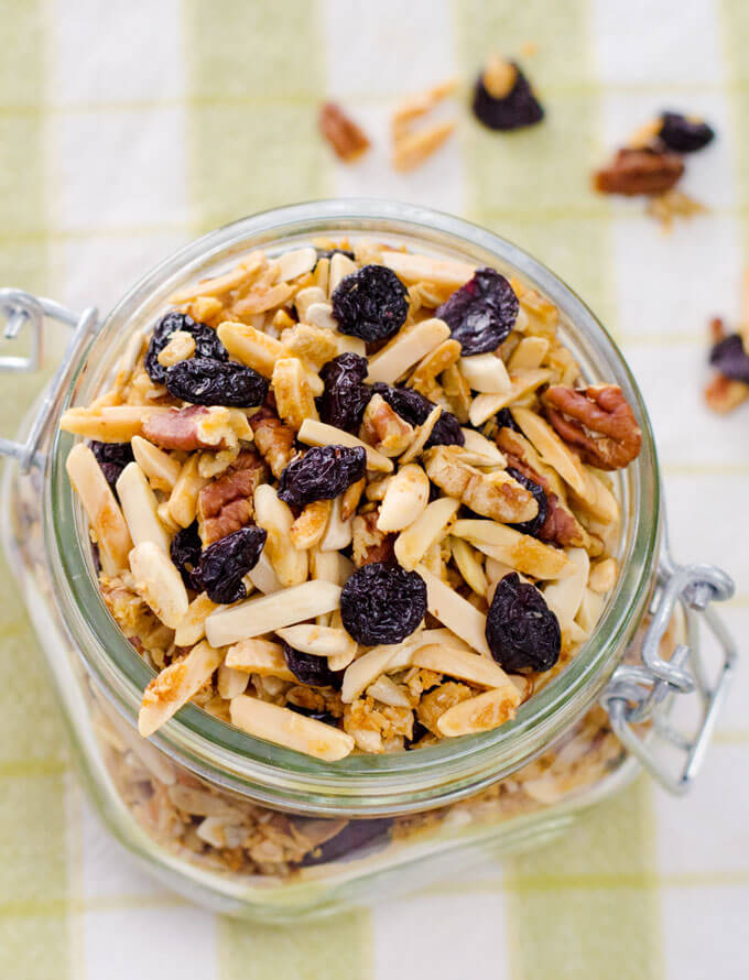 Cherry Almond Paleo Granola - This quick and easy paleo granola recipe is gluten-free, grain-free, refined sugar-free, and hard to resist. | Cook Eat Paleo