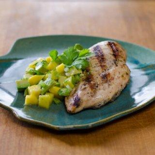 Grilled Chicken with Avocado Mango Salsa
