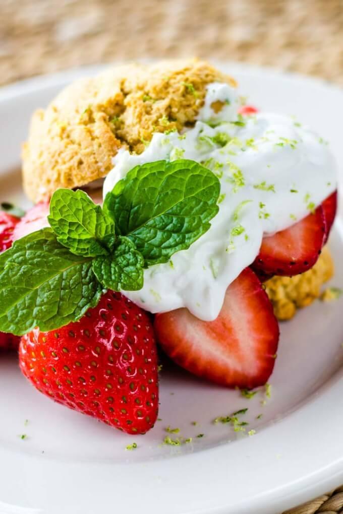Paleo Strawberry Shortcake with Lime Coconut Cream