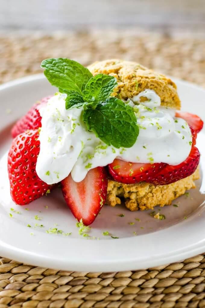 Paleo Strawberry Shortcake & Lime Coconut Cream