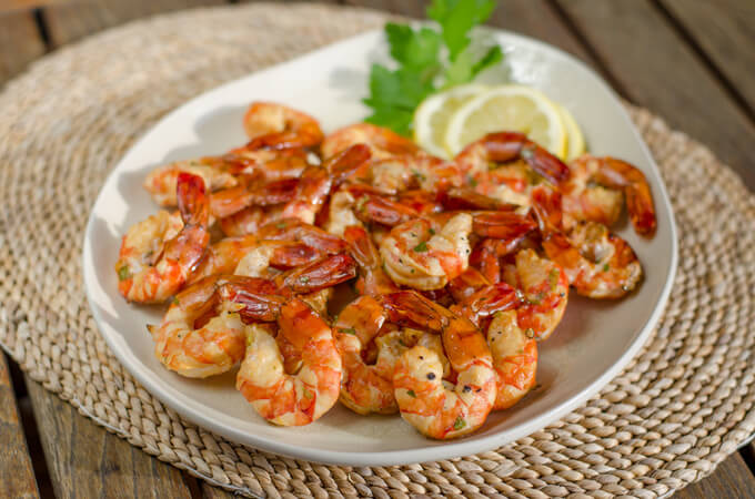 Smoked Shrimp on white platter