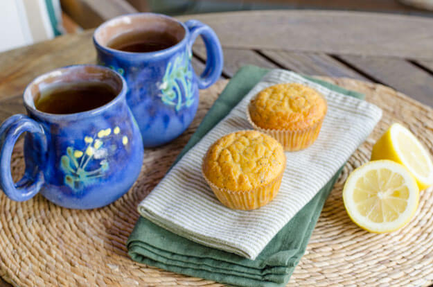 Lemon poppy paleo muffins are quick and easy gluten-free recipe. Just add everything to the food processor — the batter is ready in about five minutes. | cookeatpaleo.com