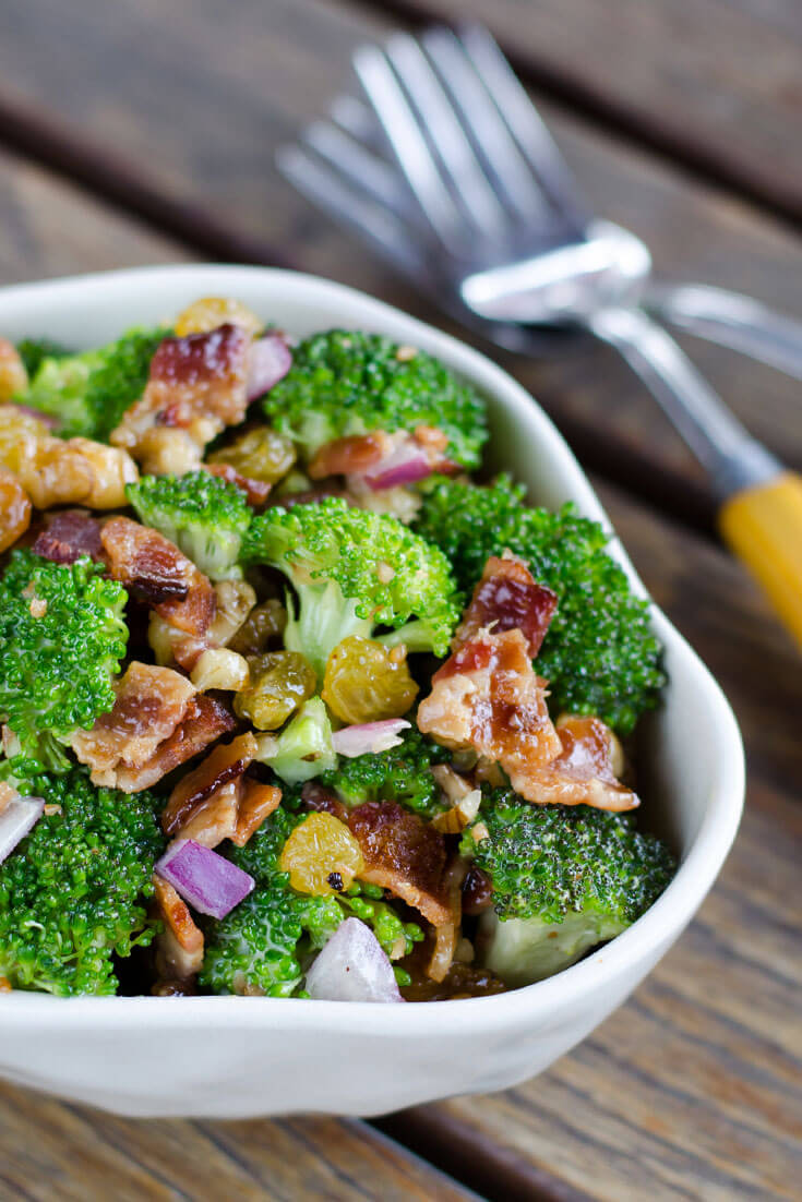 Broccoli salad with bacon is a perfect side dish for any get-together. It's paleo, gluten-free and dairy-free. | cookeatpaleo.com