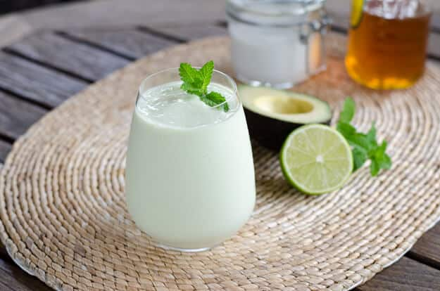 Paleo Key Lime Pie Smoothie with avocado