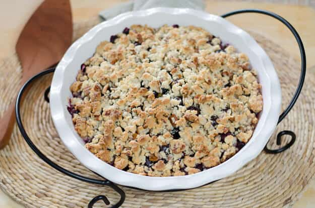 Gluten-free blueberry peach crisp