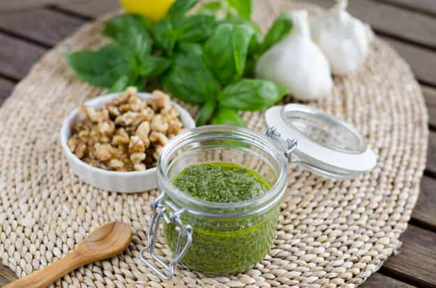 Roasted Garlic Walnut Pesto - Paleo Labor Day Barbecue Recipes | cookeatpaleo.com