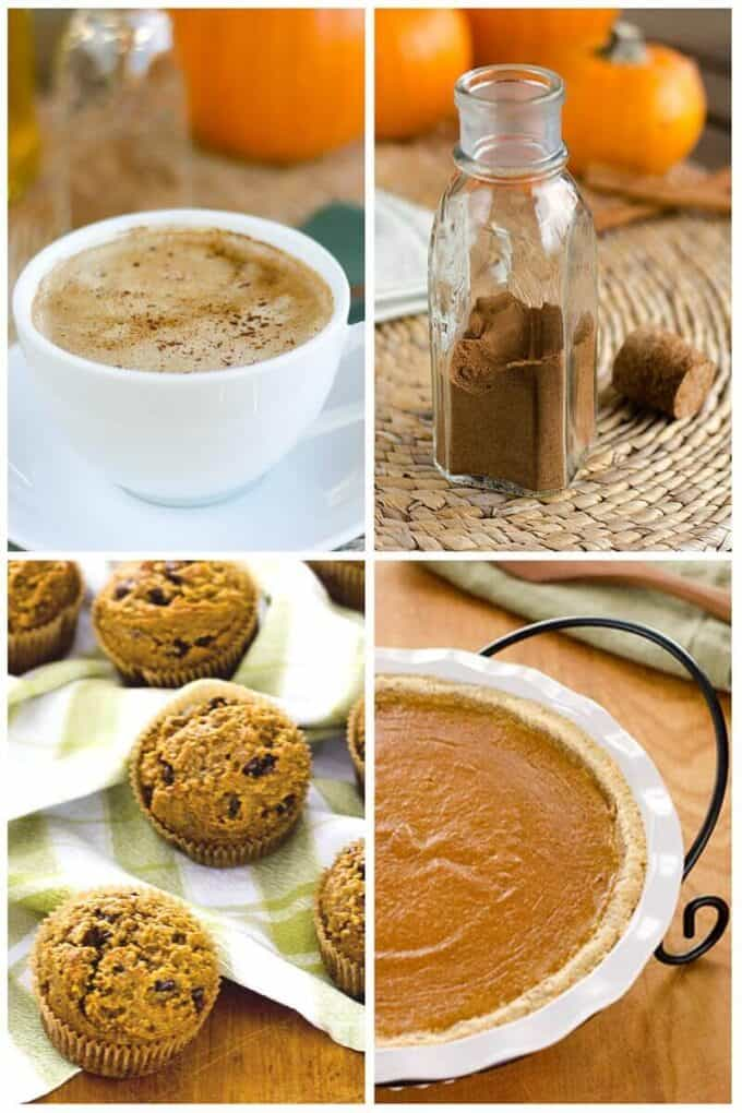 Pumpkin spice latte, pumpkin chocolate chip muffins, pumpkin pie and homemade pumpkin pie spice for fall