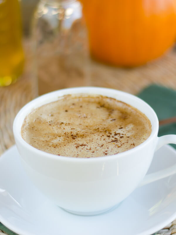 Pumpkin spice latte with coconut milk.