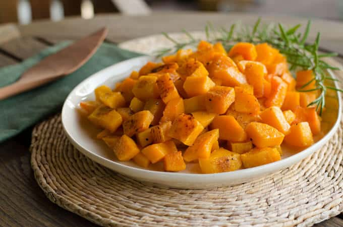 Roasted Butternut Squash with Rosemary on table