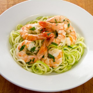 Garlic Roasted Shrimp with Zucchini Pasta