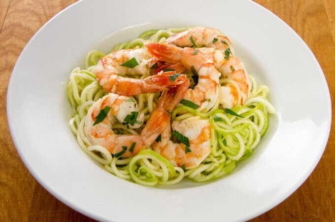 Garlic Roasted Shrimp with Zucchini Pasta