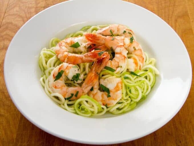 Garlic Roasted Shrimp with Zucchini Noodles (paleo, keto, Whole30)