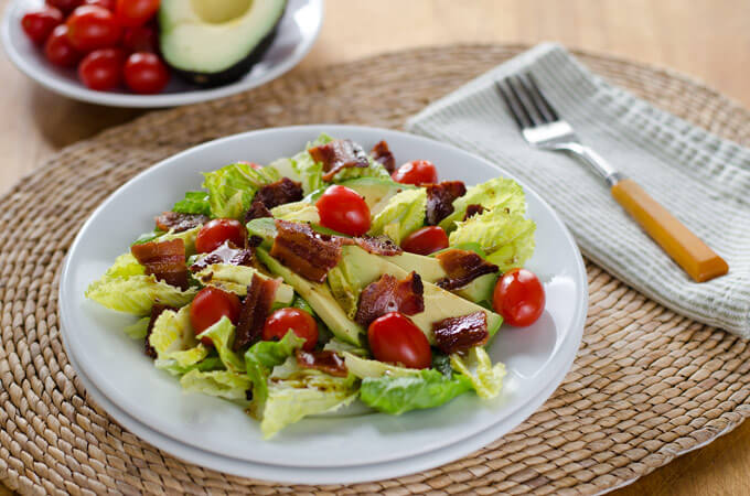 BLT Salad with Avocado and Chipotle Dressing | cookeatpaleo.com