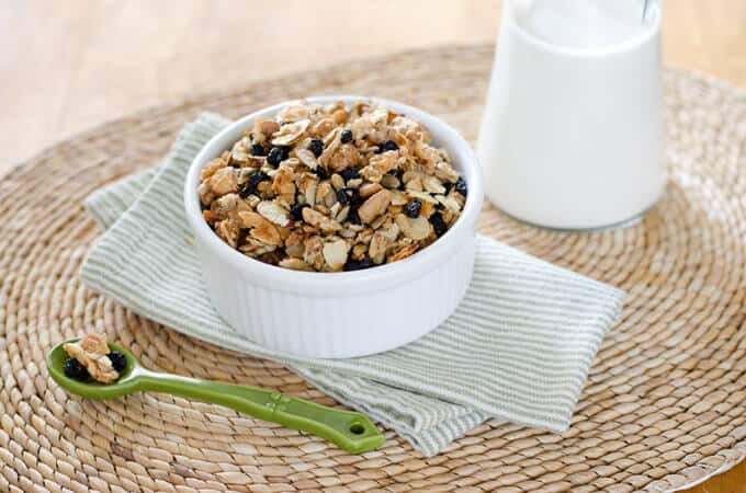 This blueberry pecan paleo granola recipe is super-fast. And it's gluten-free and grain-free. Try it for breakfast or a grab-and-go snack any time. | cookeatpaleo.com