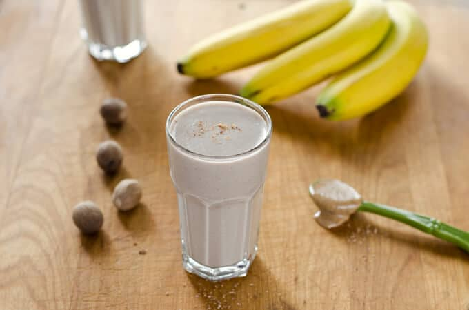 Paleo Banana Bread Smoothie is a quick breakfast or snack when you're craving something sweet and creamy. And it's dairy-free and refined sugar-free. | cookeatpaleo.com