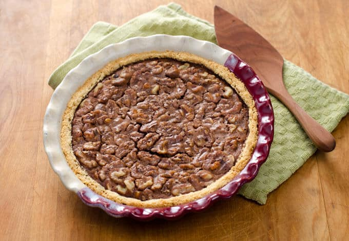 Chocolate Walnut Pie with gluten-free pie crust