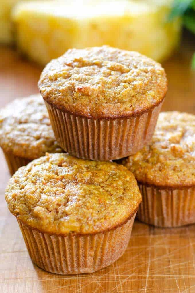 Carrot pineapple muffins made with almond flour