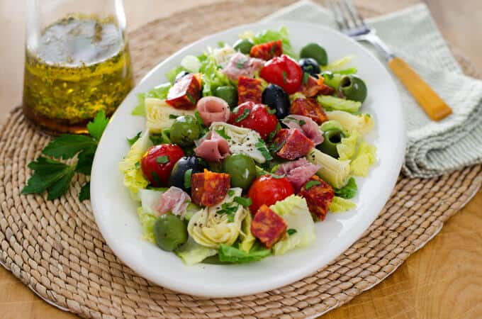Antipasto Salad with Italian Dressing | Cook Eat Paleo