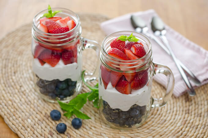 Red, White and Blue Berries and Cream are a great alternative to angel food cake with strawberries.