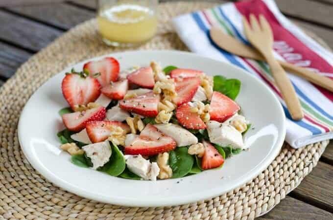 chicken salad spinach strawberries
