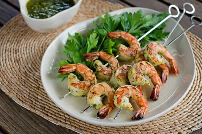 Paleo Chimichurri Grilled Shrimp