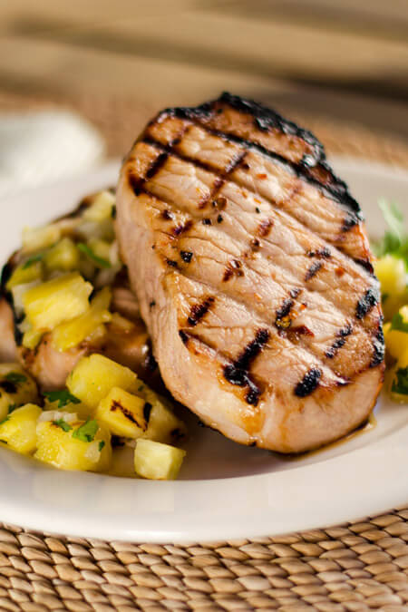 Grilled Pork Chops and Pineapple Salsa   cookeatpaleo.com