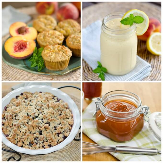 My favorite easy paleo peach recipes to make with fresh summer peaches. Dessert, muffins, smoothie and BBQ sauce - all gluten-free, grain-free and paleo. | cookeatpaleo.com