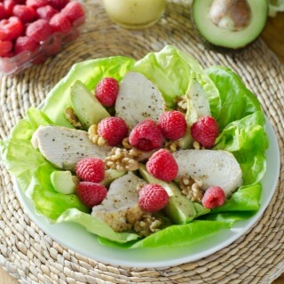 Turkey, Avocado & Raspberry Salad with Walnut Vinaigrette