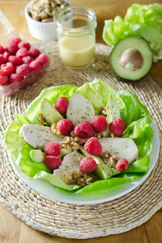 Turkey, avocado and raspberry salad with walnut vinaigrette is a quick and healthy recipe. An easy gluten-free, dairy-free and paleo lunch or dinner. | cookeatpaleo.com