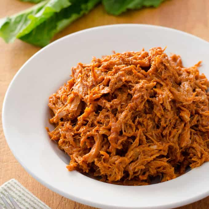 Crock Pot Pulled Pork in white bowl