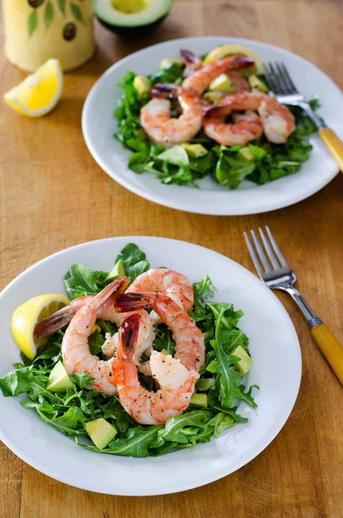 An easy paleo recipe for shrimp and arugula salad with avocado. With just 5 ingredients, it's paleo, gluten-free, grain-free, and dairy-free. | cookeatpaleo.com
