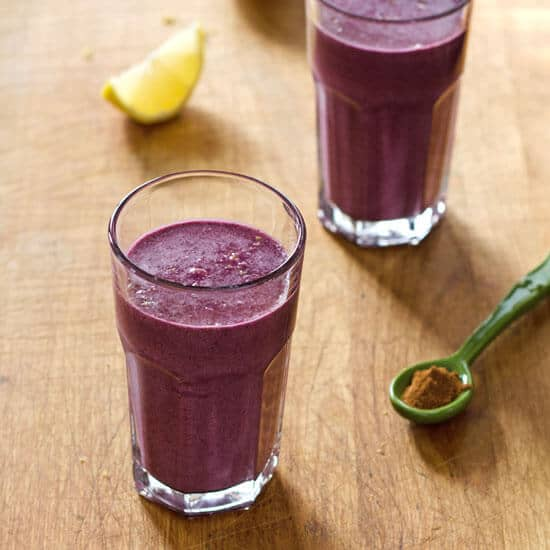 Blueberry pie smoothie with lemon and cinnamon from Cook Eat Paleo