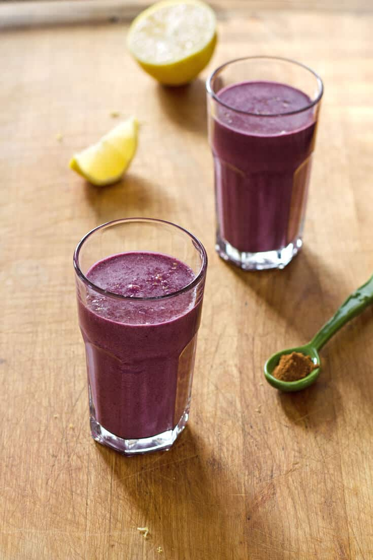 This paleo blueberry pie smoothie is dairy-free, and has no added sweetener. Just pure creamy, fruity goodness.