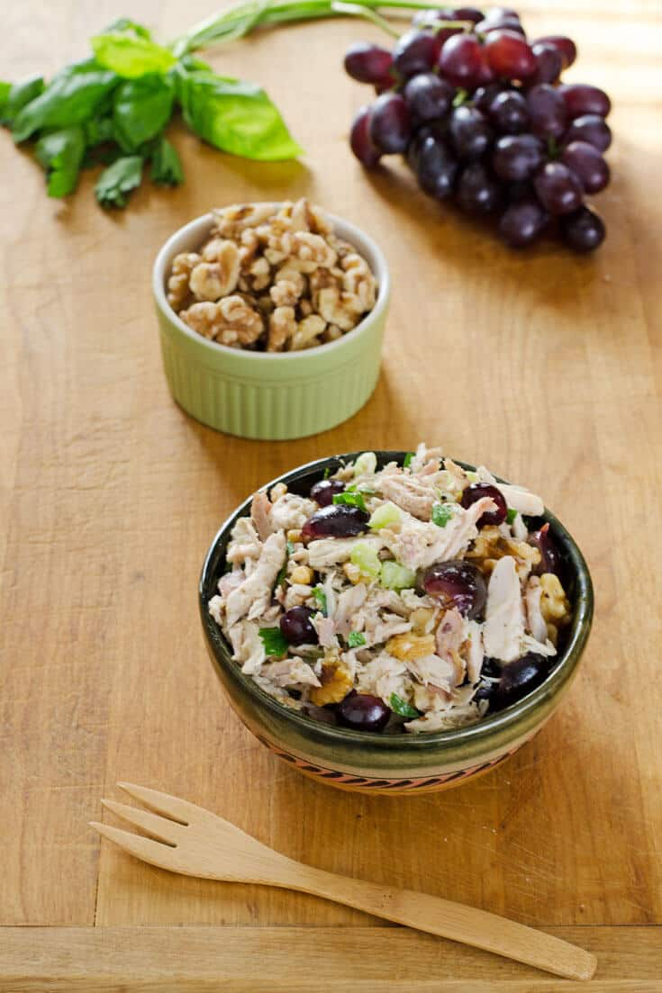 Chicken Salad with Grapes and Walnuts - Easy Healthy Lunch Ideas That Are Gluten-Free |Cook Eat Paleo