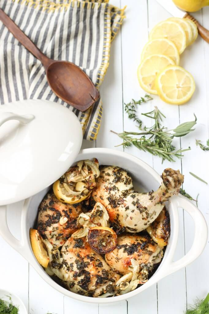 Lemon Herb Roasted Chicken and Fennel | Cook Eat Paleo