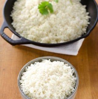 Cauliflower rice in cast iron skillet