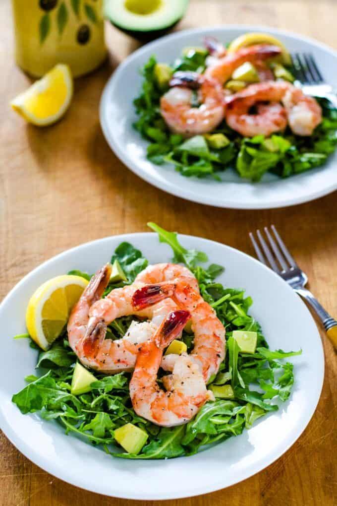 Shrimp and arugula salads