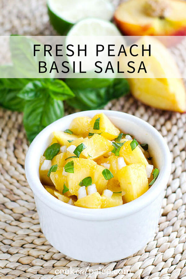 The flavors of summer come together in this fresh peach basil salsa. It's paleo, gluten free, grain free, and perfect with grilled seafood, chicken or pork. | cookeatpaleo.com