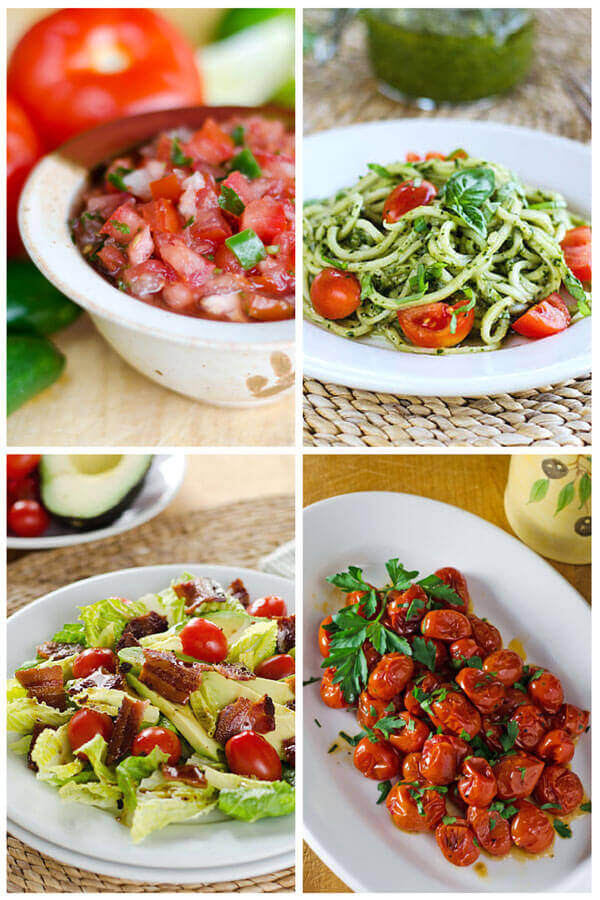Fresh tomato salsa, zucchini noodle pesto with cherry tomatoes, BLT salad, roasted tomatoes