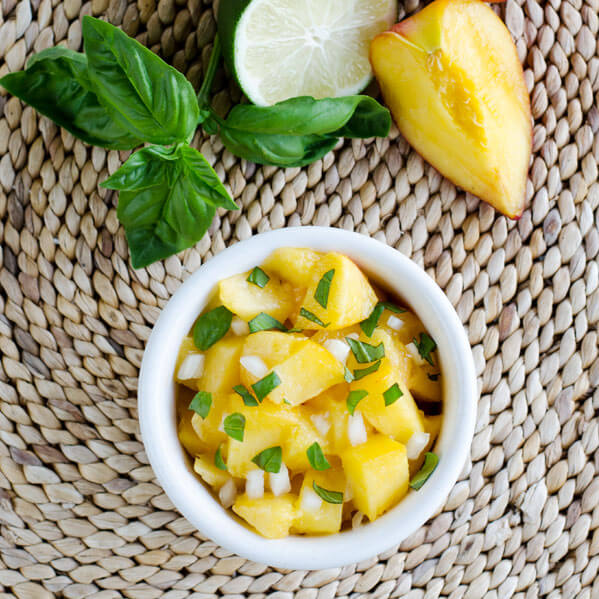 Fresh Peach Basil Salsa | cookeatpaleo.com
