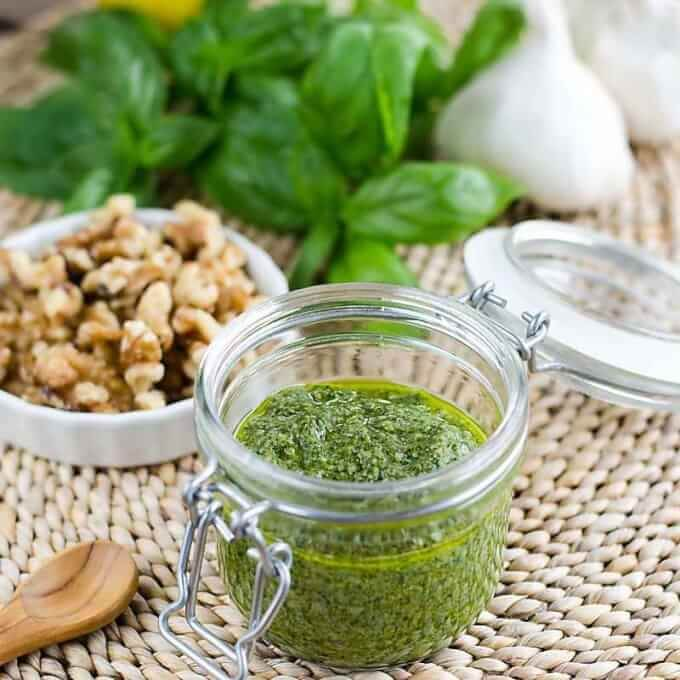 roasted garlic walnut pesto in jar
