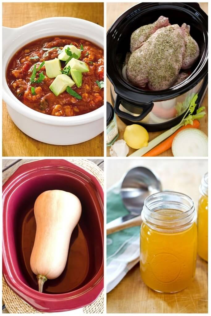 Chili with avocados, whole chicken in crock pot, whole butternut squash in slow cooker, chicken stock in mason jars