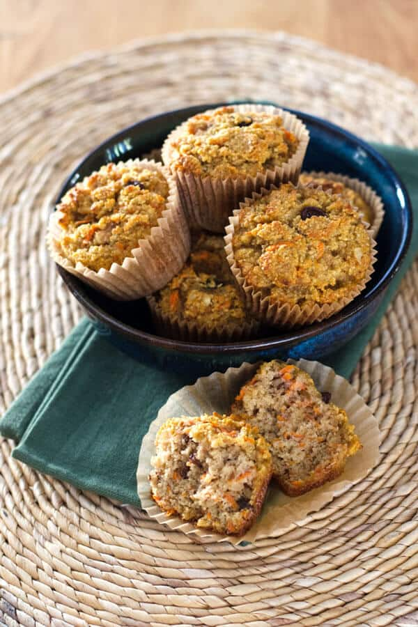 An easy paleo carrot raisin muffin recipe with cinnamon and walnuts - gluten-free, grain-free, dairy-free and refined sugar-free. Bake ahead and freeze! |cookeatpaleo.com